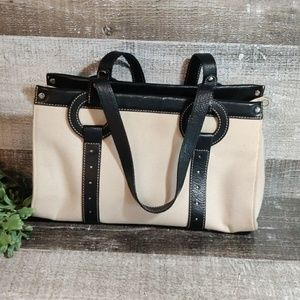 Cole Haan leather and canvas shoulder bag